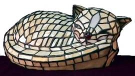 777 Tiffany lamp B30cm  Slapende poes spinnende kat