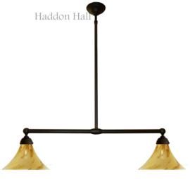 326.60 Hanglamp B90cm met 2 glazen kappen Ø30cm Licht Marmer Kelk