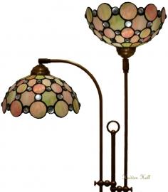 """5797 Vloerlamp met 2 Tiffany kappen Ø25cm """"Pearl"""""""
