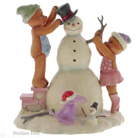 "Let it Snow  ""Button & Pinky Building Snowman"" H15cm Jim Shore 6005119"