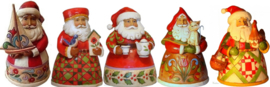Set van 5 Jim Shore Pint Santa's H12cm 4022910 911 912 913 914