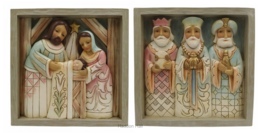 Plaque Set van 2 - Nativity & Three Kings 16x16cm Jim Shore