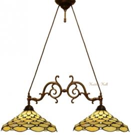 T06M Hanglamp met 2 Tiffany kappen Ø37cm Creme Pearl