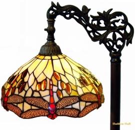 1100 9458 Vloerlamp H164cm met Tiffany kap Ø30cm Beige Dragonfly