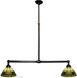 5803 Hanglamp B90cm met 2 Tiffany kapjes Ø25cm