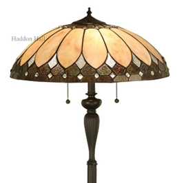 "T048L DKIF  Vloerlamp Zwart  H158cm met Tiffany kap Ø50cm ""Brooklyn"