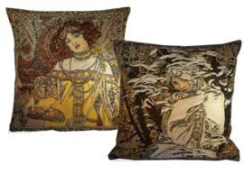 """Alphonse Mucha Set van 2 Kussens 48x48cm """"Herfst & WInter"""" Gobelin geweven"""