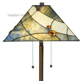 7989 Vloerlamp Bruin H159 met Tiffany kap 44x44cm Sky Blue