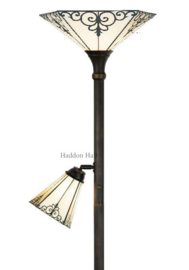 LT156B Vloerlamp H178cm met 2 Tiffany kappen Ø36 en Ø19cm