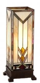 9227 Tafellamp Tiffany H44cm 17x17cm  Windlicht model Art-deco motief.