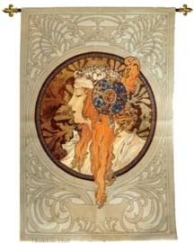 "Alphonse Mucha ""The Blonde"" 140x95cm Wandkleed Gobelin geweven + STANG"