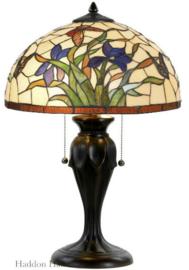 Y16392 Tafellamp Bruin met Tiffany kap Ø40cm Papillons