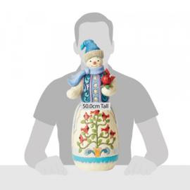 Snowman Statue with Cardinals H50cm! Jim Shore 4059914