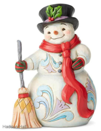 Snowman with Broom & Scarf H21cm Jim Shore 6004142