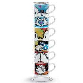 Mickey & Minnie Standaard met 7 Espresso kopjes Disney by Egan