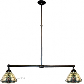 9004 Hanglamp met 2 Tiffany kappen Ø26cm Blue-Oyster