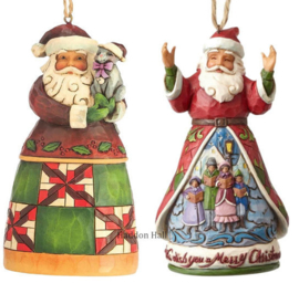 Set van Jim Shore Santas Hanging Ornament - Santa with Cat - Wish You A Merry Christmas