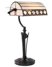 T4 292 Bureaulamp Bankierslamp H42cm met Tiffany kap Fargo