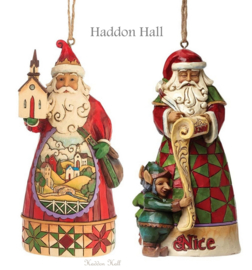 "Set van 2 Hanging Ornament H12cm ""Church Scene""&""Naughty Nice"" Jim Shore"
