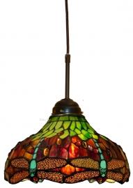 9202 345 Hanglamp Tiffany Ø30cm Textielsnoer Red Green Dragonfly