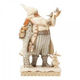 White Woodland Kerstman H 26,5cm Jim Shore White Woodland Santa 4058735