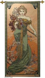 "Alphonse Mucha ""Lente""  Wandkleed + Stang 110x46cm  Gobelin Geweven"