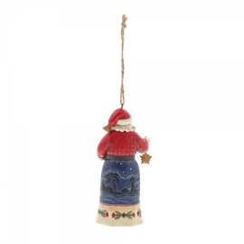 Set van 2 Hanging ornament  Joy to the World - Santa Holding Tree