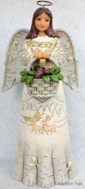 """Woodland Angel Holding Basket"" H25cm Jim Shore 6001409 Kerstengel White Woodland"