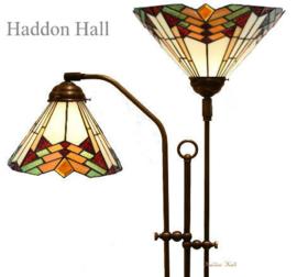 5969 Vloerlamp Verstelbaar  met 2 Tiffany kappen Ø35 en Ø25cm Stricta