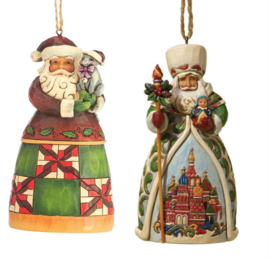 Set van 2 Jim Shore Hanging ornament Santa with Cat - Russian Santa