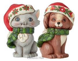 Christmas Kitten & Puppy H9cm Set van 2 Jim Shore mini figurines