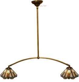 9113 Hanglamp met 2 Tiffany kappen Ø25cm Durban