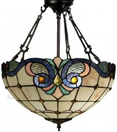 5807 FCS Hanglamp Plafonniere Tiffany Ø40cm Lila Rose en Blauw