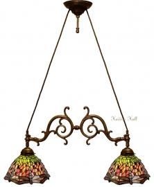 8827 Hanglamp B75cm met 2 Tiffany kappen Ø25cm Red Green Dragonfly