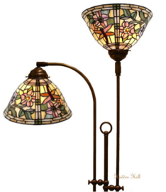 9111 Vloerlamp Half Rond met 2 Tiffany kappen Ø25cm Garden Dragonfly