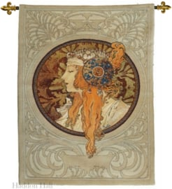 Alphonse Mucha - Wandkleed 90x70cm + STANG Byzantine Head - The Blonde - Gobelin