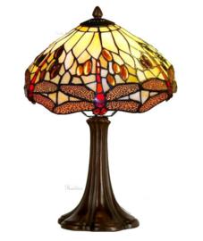 1100 Tafellamp Bruin met Tiffany kap Ø30cm Beige Dragonfly