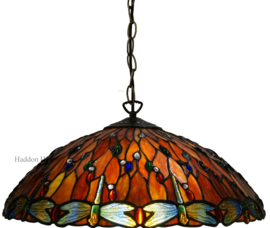 5466 Hanglamp Tiffany Ø45 cm Red Glass Dragonfly
