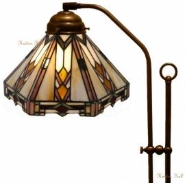 9113 708H Vloerlamp Haaks met Tiffany kap Ø25cm