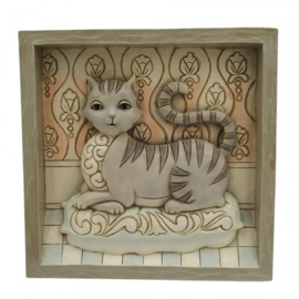 Plaque Grey Laying Cat  16x16cm Jim Shore 6009338