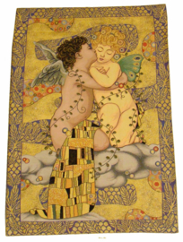 "Gustav Klimt Wandkleed 95x60cm Gobelin Geweven  ""The First Kiss"""