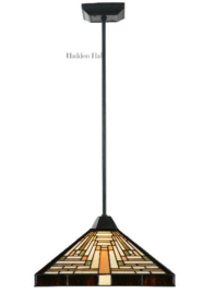 7881 Hanglamp Zwart  H80 - 50cm met Tiffany kap 36x36cm Rising Sun