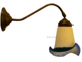 405-IB 410 Wandlamp donkebrons met Tiffany kap Ø13cm Galle Stijl Blu