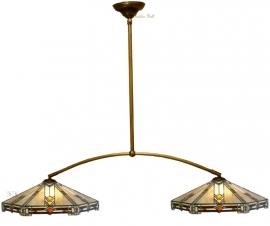 5420 973 Hanglamp met 2 Tiffany kappen Ø40cm Durban