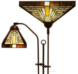 7881 7904 Vloerlamp met 2 Tiffany kappen Rising Sun