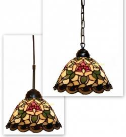 9114 Hanglamp Tiffany Ø26cm Santana Ketting of textielsnoer