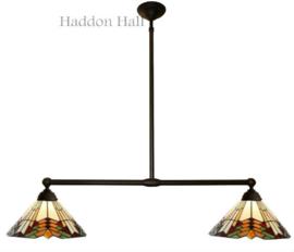 5969 Hanglamp met 2 Tiffany kappen Ø35cm Stricta