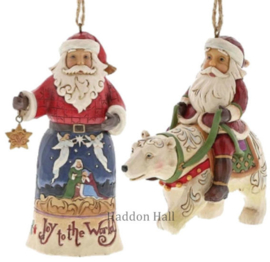 Set van 2 Hanging ornament  Joy to the World - Santa in Polar Bear - Jim Shore