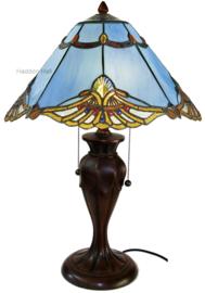 161072 Tafellamp Tiffany H58cm Ø40cm Modry