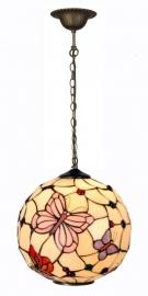 1169 Hanglamp Tiffany Bol Ø35cm Pink Butterfly